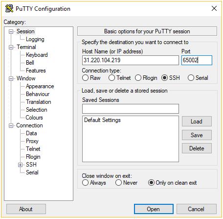 Configuración de cliente putty ssh