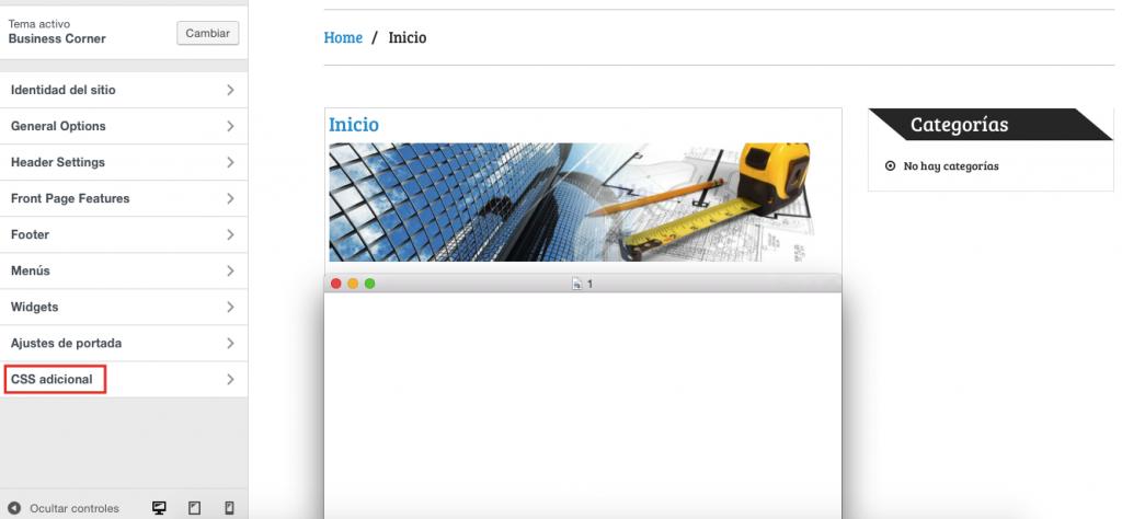 css adicional para personalizar plantilla en wordpress