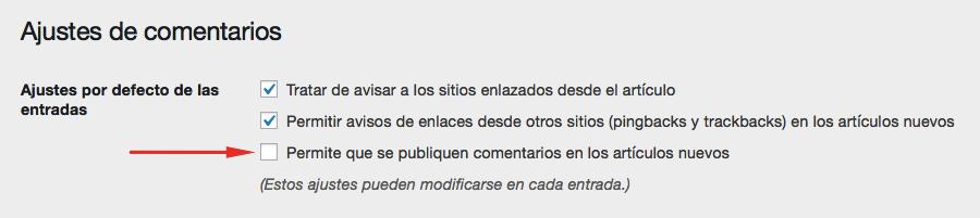 desactivar comentarios en wordpress