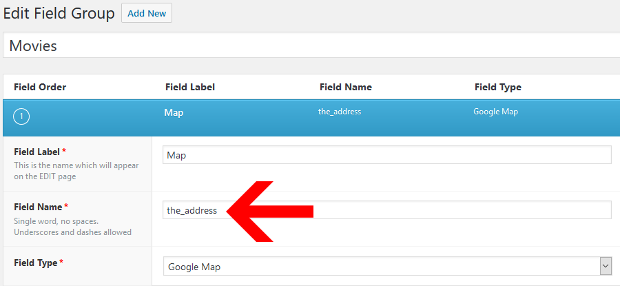 Nombre de campo en el plugin Advanced Custom Fields