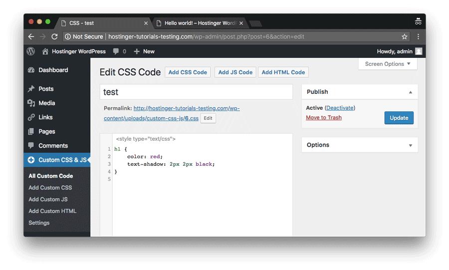 editar css personalizado en wordpress mediante un plugin