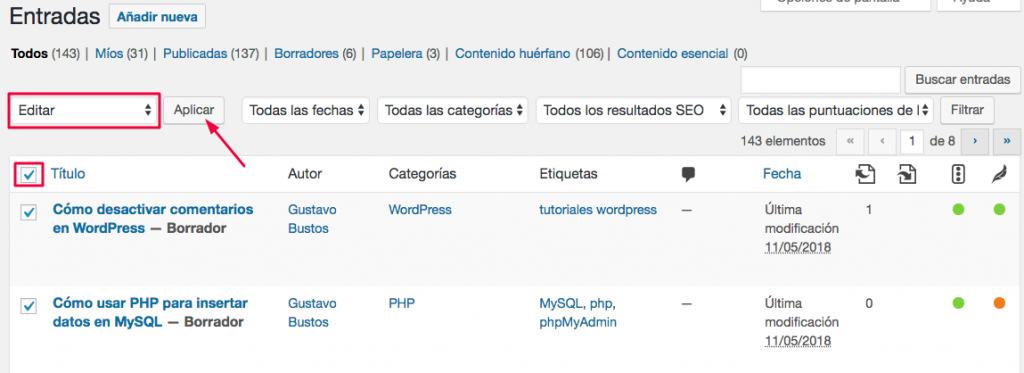 editar entradas wordpress