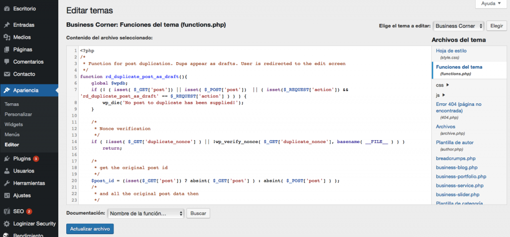 Agregar función para duplicar la página de WordPress