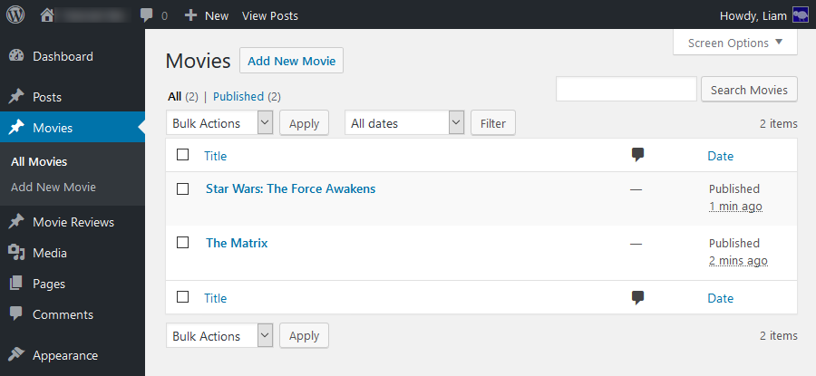 Ejemplo de custom post types en wordpress