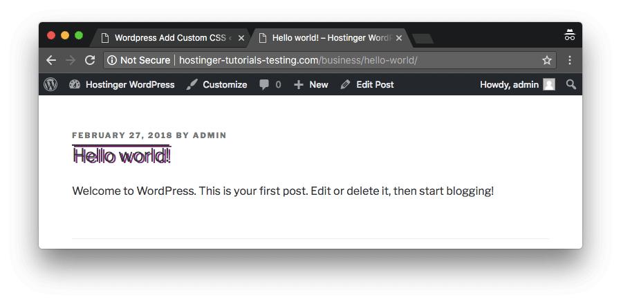 ejemplo de css personalizado en wordpress