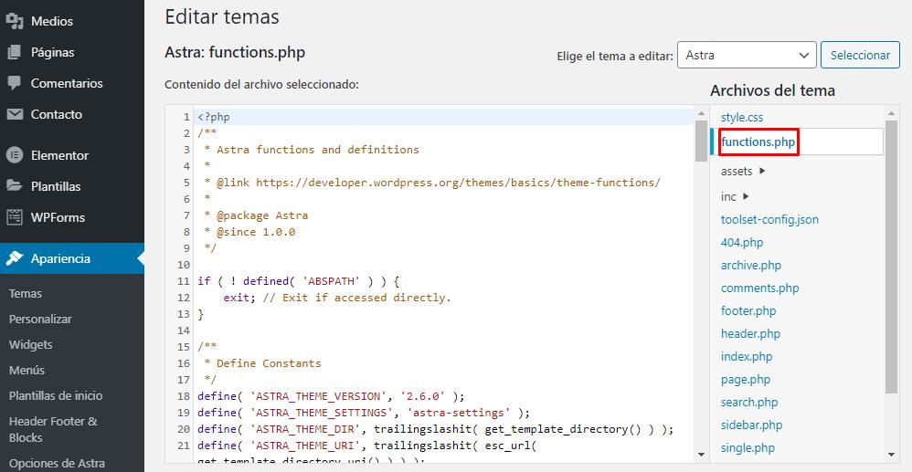 Editar functions.php en el Editor de temas en WordPress