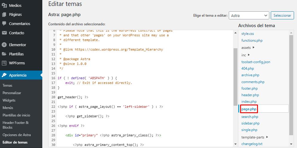 Editar page.php en el Editor de archivos de WordPress