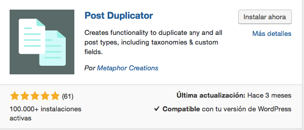 Plugin Post Duplicator para WordPress