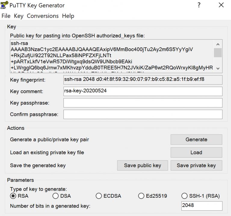 PuttyGen clave pública y privada.