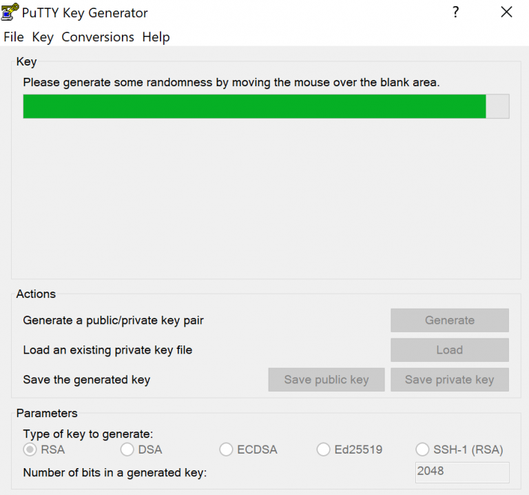 barra de progreso del generador de claves puttygen