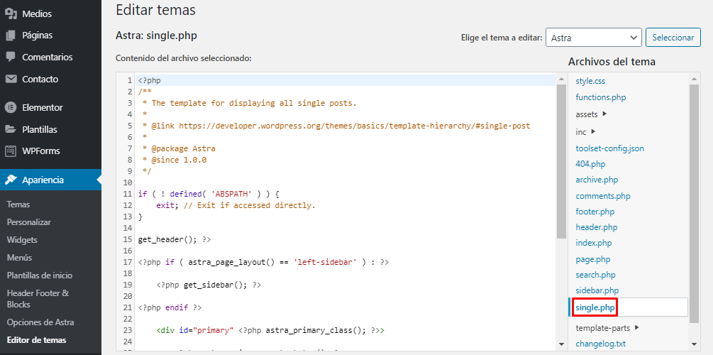 Single.php en el editor de temas de WordPress