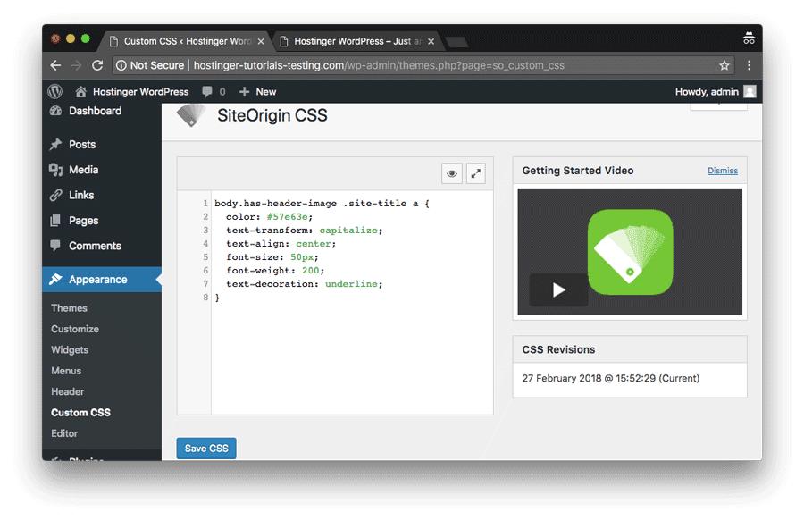 vista previa de plugin de siteorigin para CSS personalizado