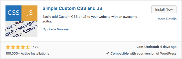 Plugin Simple Custom CSS and JS para WordPress