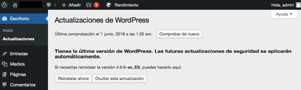 Ver versión de WordPress en la sección Actualizaciones