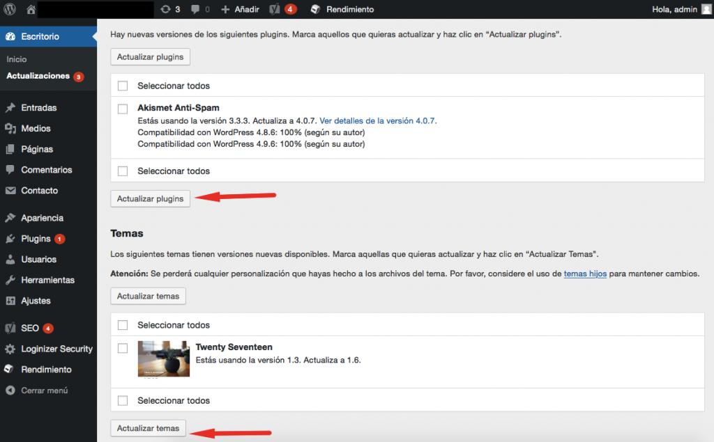 Pantalla de actualizaciones de WordPress