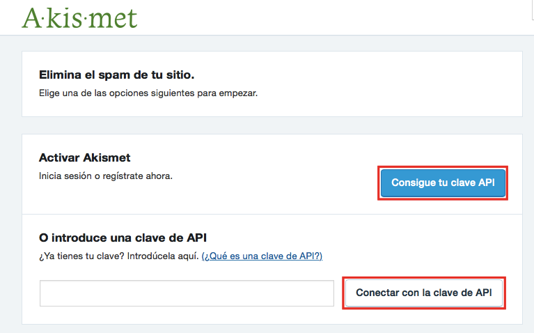 WordPress Akismet obtener la clave de API