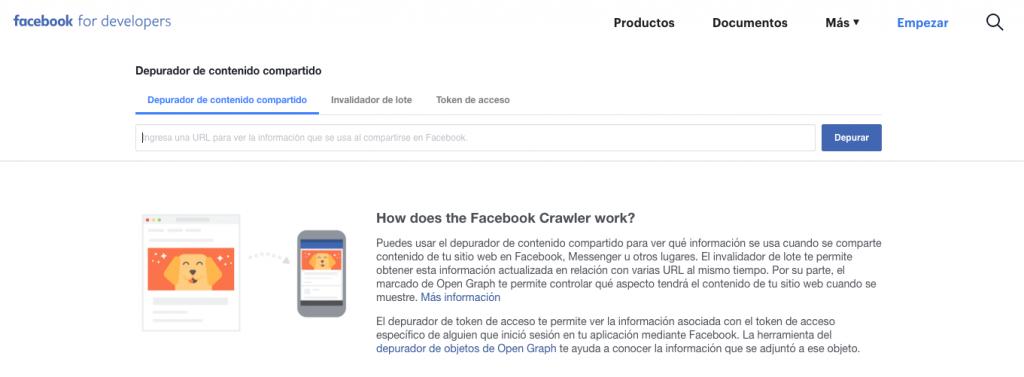 Herramienta de depuración de Facebook