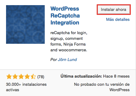 Instalación de WordPress ReCaptcha Integration