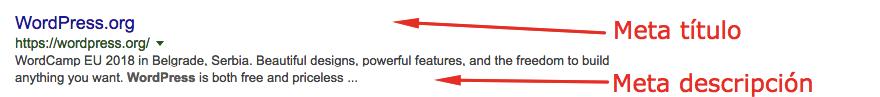 Meta título y meta descripción en los resultados de búsqueda de Google