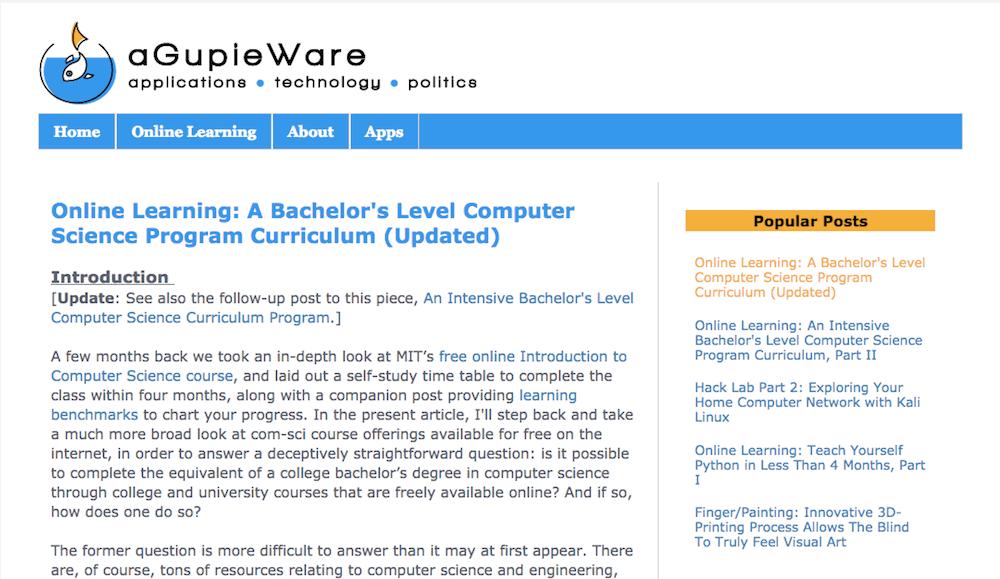 Aprende programación en línea de forma gratuita con aGupieWare