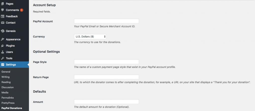 Configurar el botón de donación de PayPal en el panel de WordPress