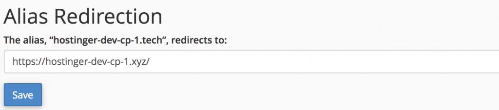 redirección de alias para el dominio estacionado