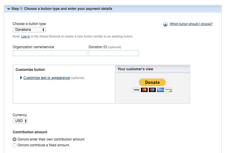Seleccionar la opción del botón de donación