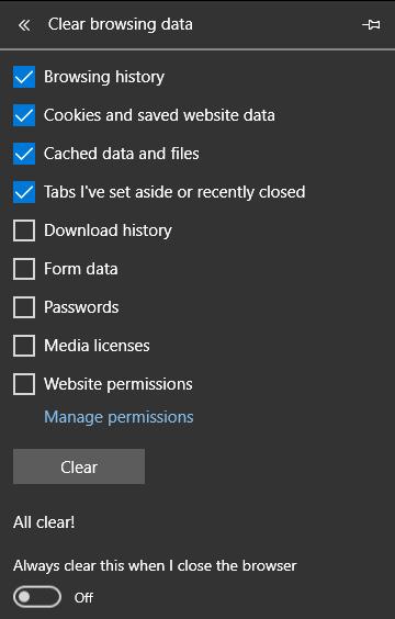 Borrado de caché del navegador, cookies e historial en Microsoft Edge