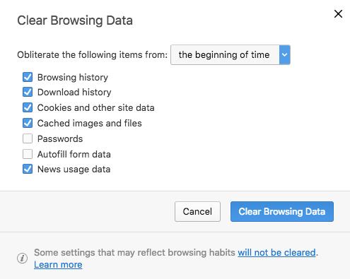 Borrar la caché del navegador en Opera