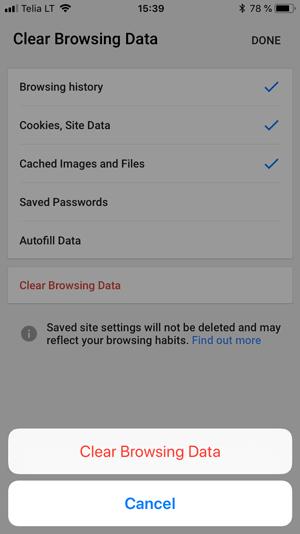 Borrar el caché del navegador en Google Chrome usando el teléfono iOS