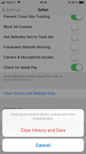 Borrar la caché del navegador en Safari usando el teléfono iOS