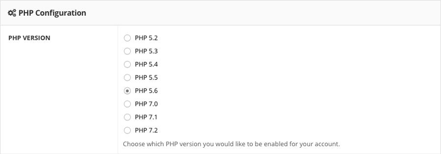 cambiar versión PHP