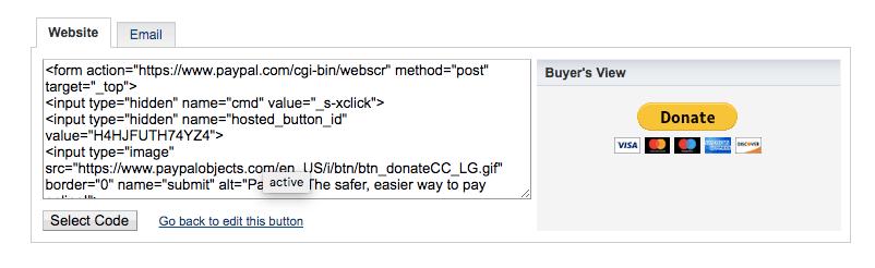 Obtener el código del botón de donaciones de paypal