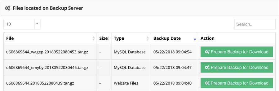 Sitio web y copias de seguridad de bases de datos MySQL en Hostinger