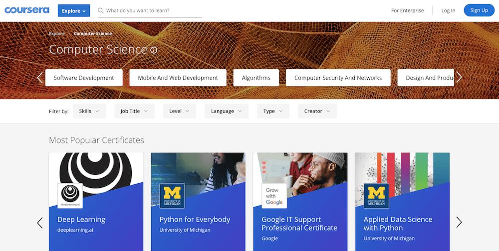 Aprende a programar en línea gratis con Coursera
