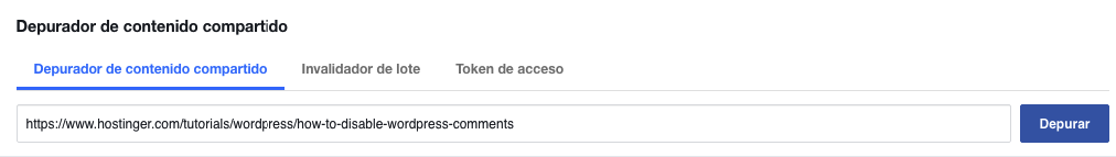Verificando una página usando el depurador de URL de Facebook.