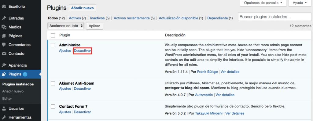 Desactivar plugins para solucionar el error HTTP de WordPress.