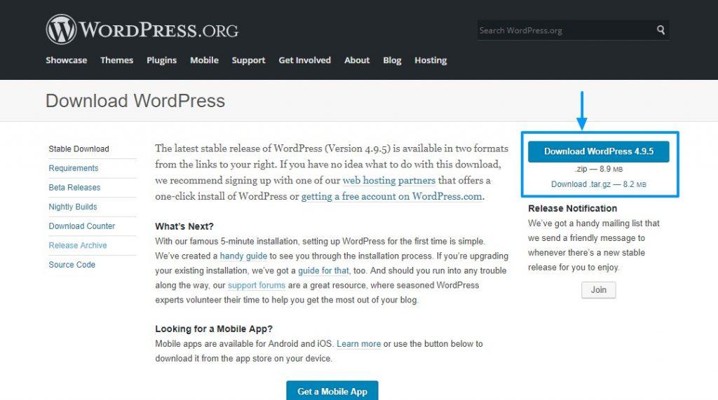 Descargar la última versión de wordpress desde wordpress.org