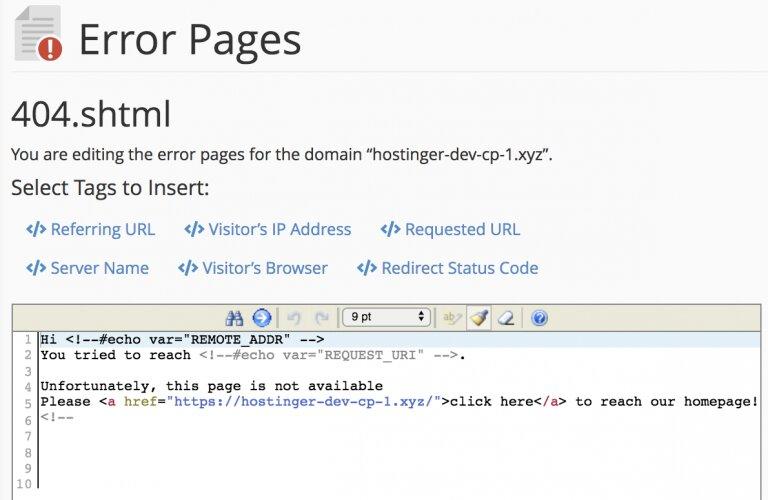 editar la página para el código de estado elegido