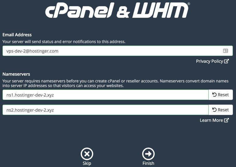 configurar el servidor de nombres para whm / cpanel