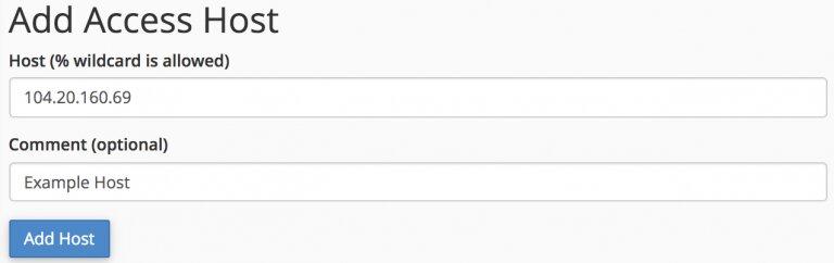 agregar el host para acceder a la base de datos