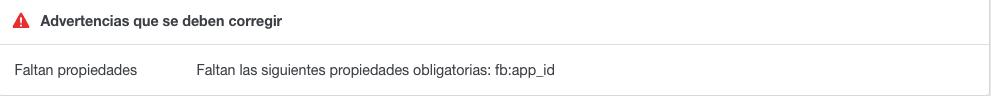 Mensaje de error de OG del depurador de Facebook