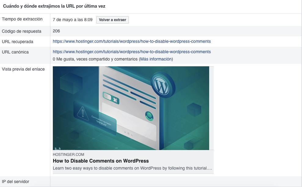 Vista previa de un enlace en la herramienta de depuración de facebook