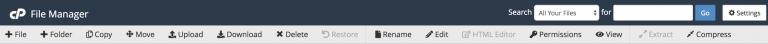barra de herramientas de administración de archivos en el administrador de archivos