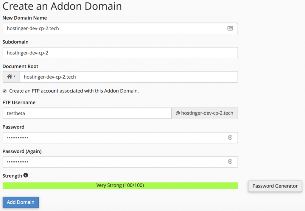 configurar el nombre de dominio y la cuenta ftp para el dominio adicional