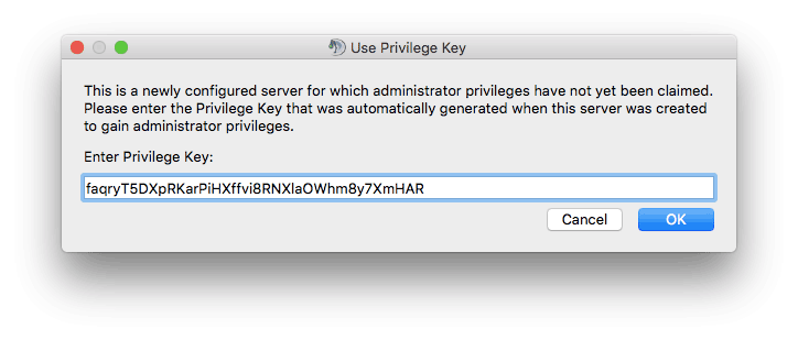 Ingresar de clave privilegiada para el servidor TeamSpeak 3 en Mac