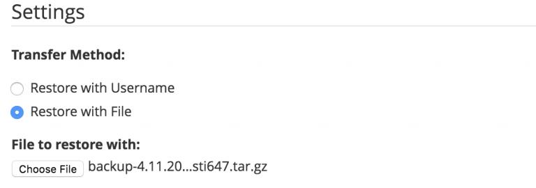 restaurar usando el archivo que se ha descargado previamente
