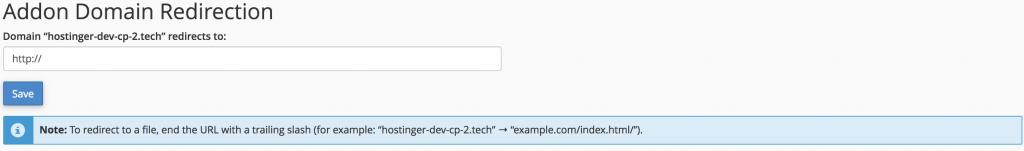 administrar la redirección para el dominio adicional