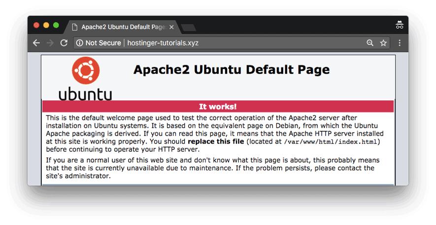 La página predeterminada de carga de Ubuntu indica que ese dominio apunta exitosamente a un VPS