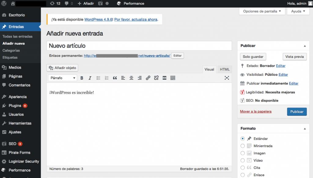Agregar una nueva publicación usando el sistema gestor de contenidos de WordPress.